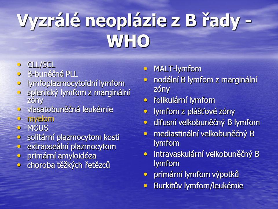 Vyzrálé neoplázie z B řady - WHO