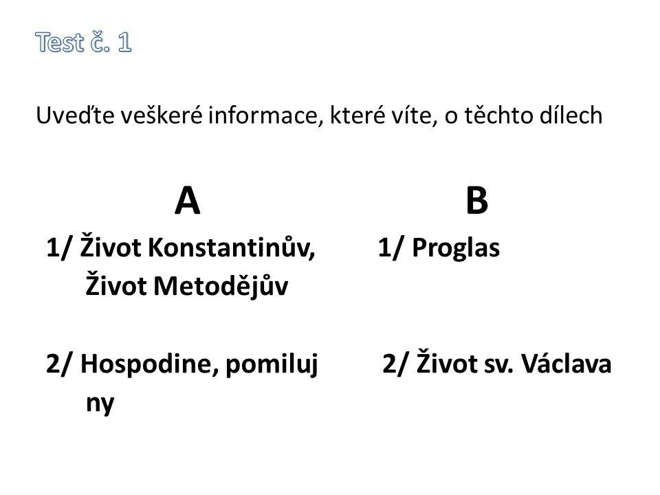 Test č. 1 Uveďte veškeré informace, které víte, o těchto dílech