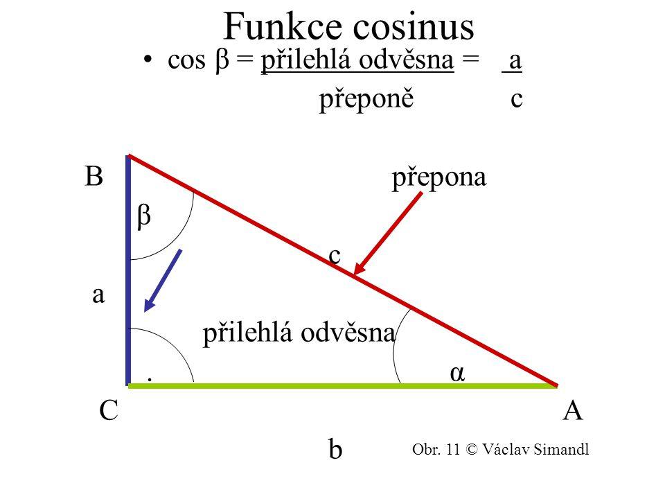 cos β = přilehlá odvěsna = a