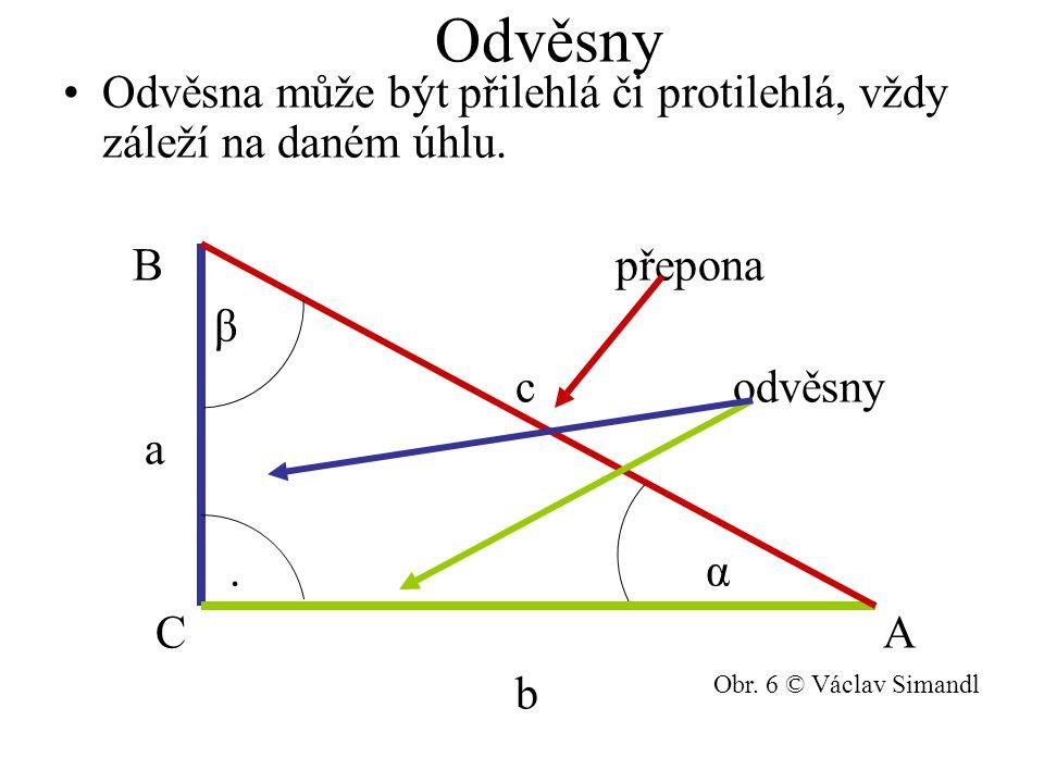 Odvěsny Odvěsna může být přilehlá či protilehlá, vždy záleží na daném úhlu. B přepona.