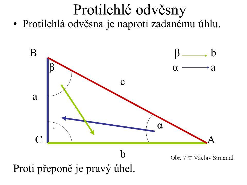 Protilehlé odvěsny Protilehlá odvěsna je naproti zadanému úhlu. B β b