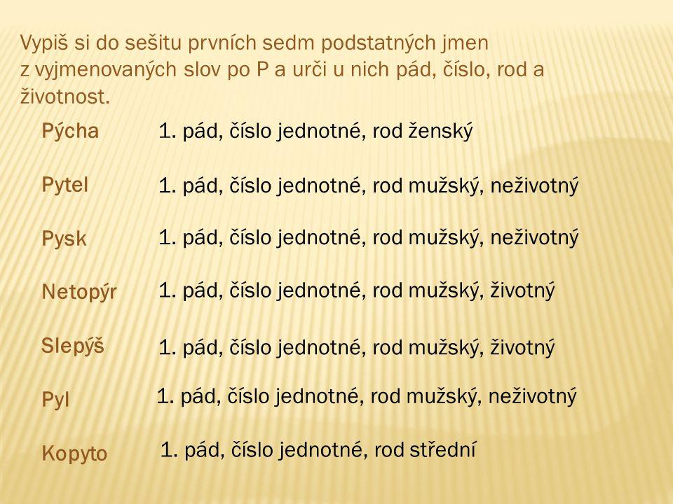 Vypiš si do sešitu prvních sedm podstatných jmen