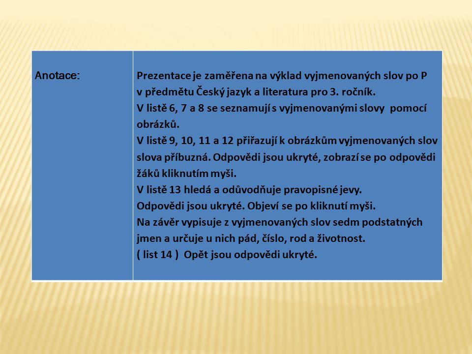 Anotace: Prezentace je zaměřena na výklad vyjmenovaných slov po P. v předmětu Český jazyk a literatura pro 3. ročník.