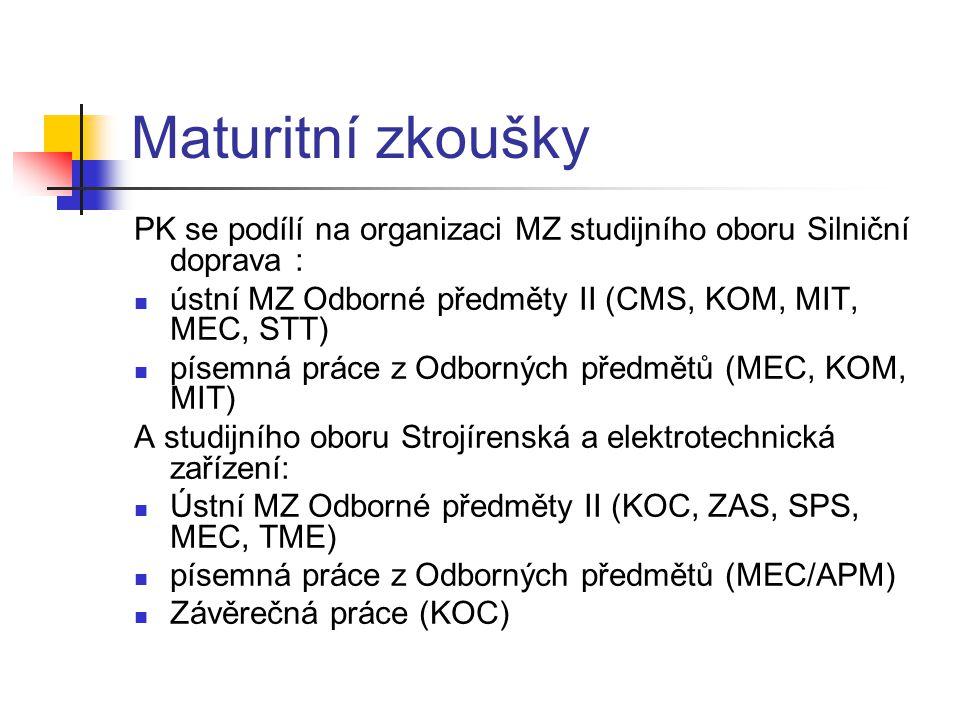 Maturitní zkoušky PK se podílí na organizaci MZ studijního oboru Silniční doprava : ústní MZ Odborné předměty II (CMS, KOM, MIT, MEC, STT)