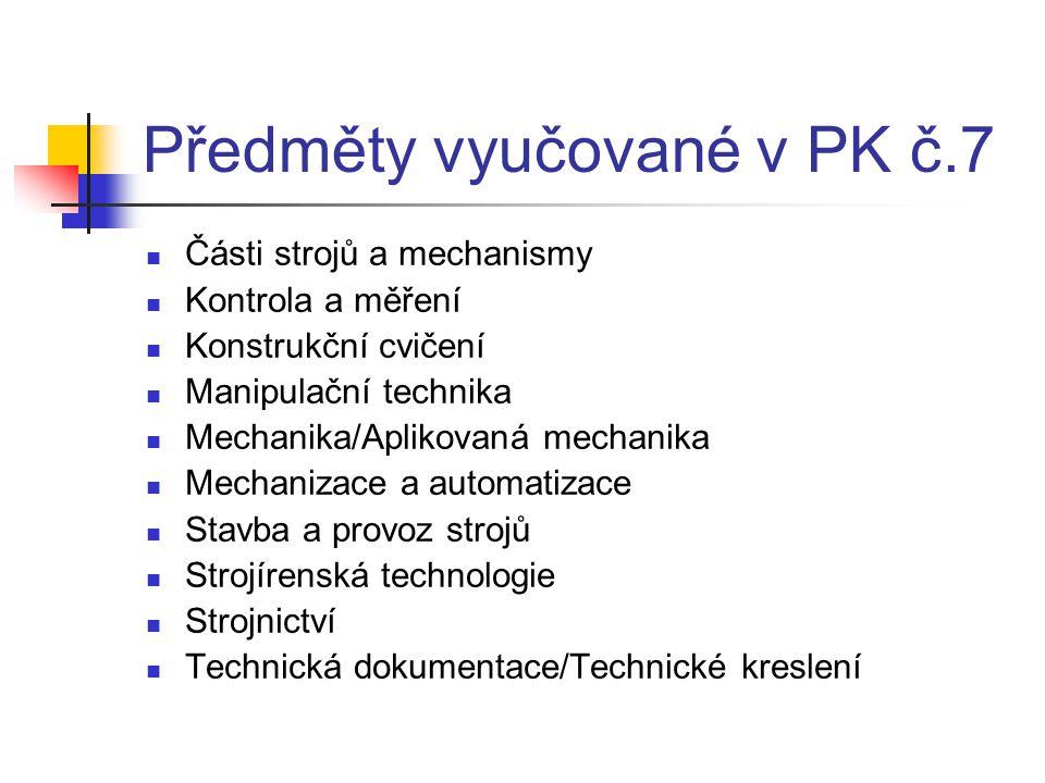 Předměty vyučované v PK č.7