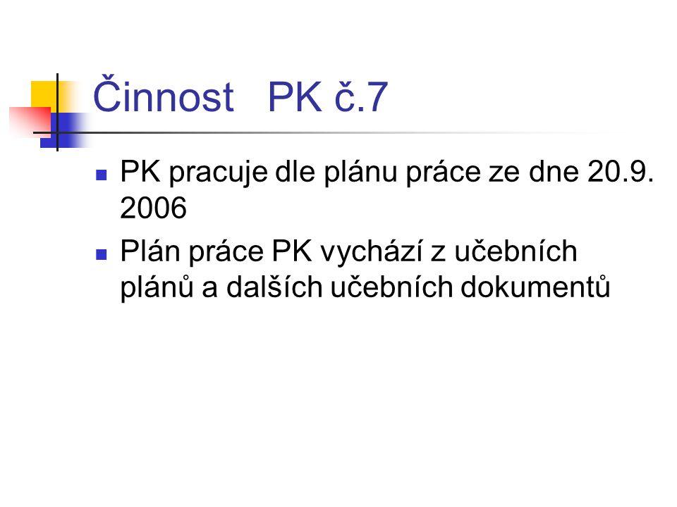 Činnost PK č.7 PK pracuje dle plánu práce ze dne 20.9. 2006
