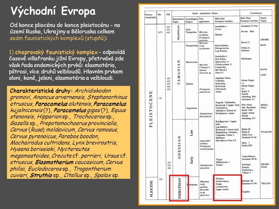 Východní Evropa Od konce pliocénu do konce pleistocénu - na území Ruska, Ukrajiny a Běloruska celkem sedm faunistických komplexů (stupňů):