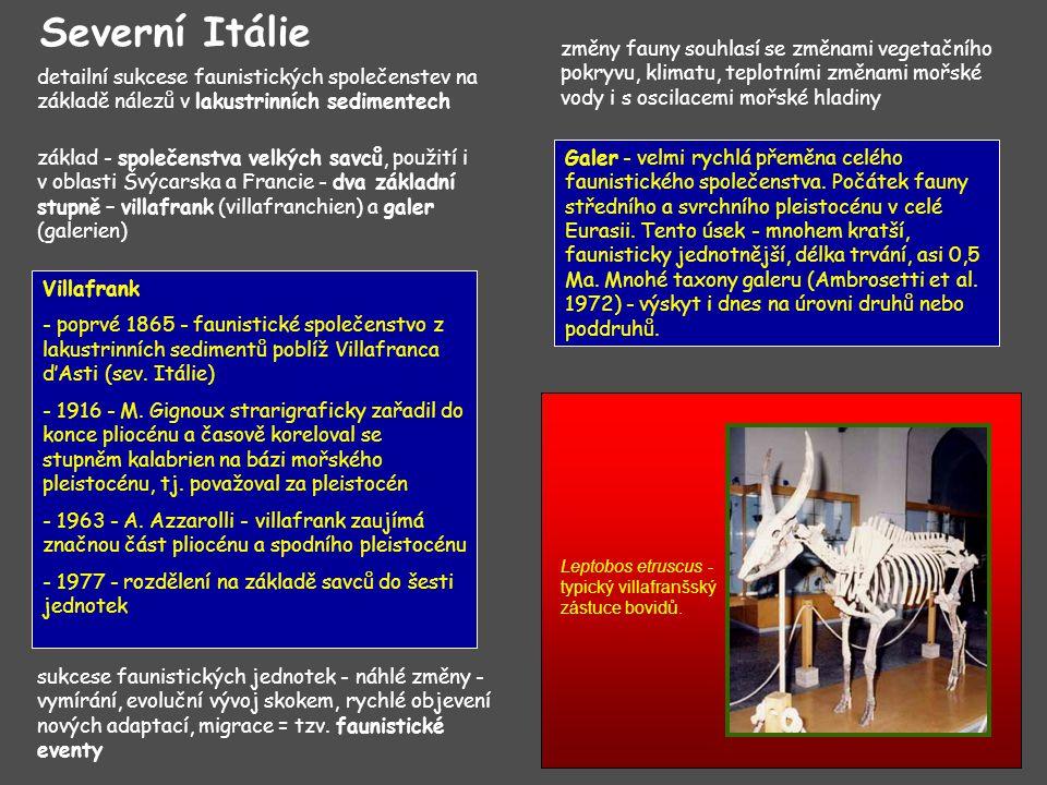 Severní Itálie změny fauny souhlasí se změnami vegetačního pokryvu, klimatu, teplotními změnami mořské vody i s oscilacemi mořské hladiny.
