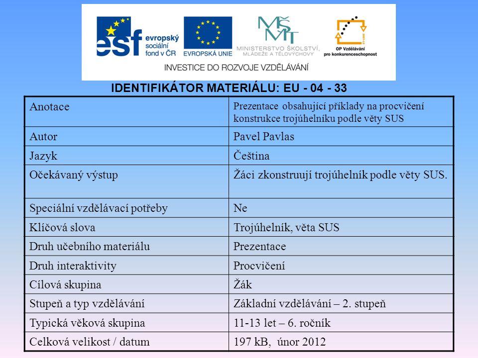 IDENTIFIKÁTOR MATERIÁLU: EU - 04 - 33