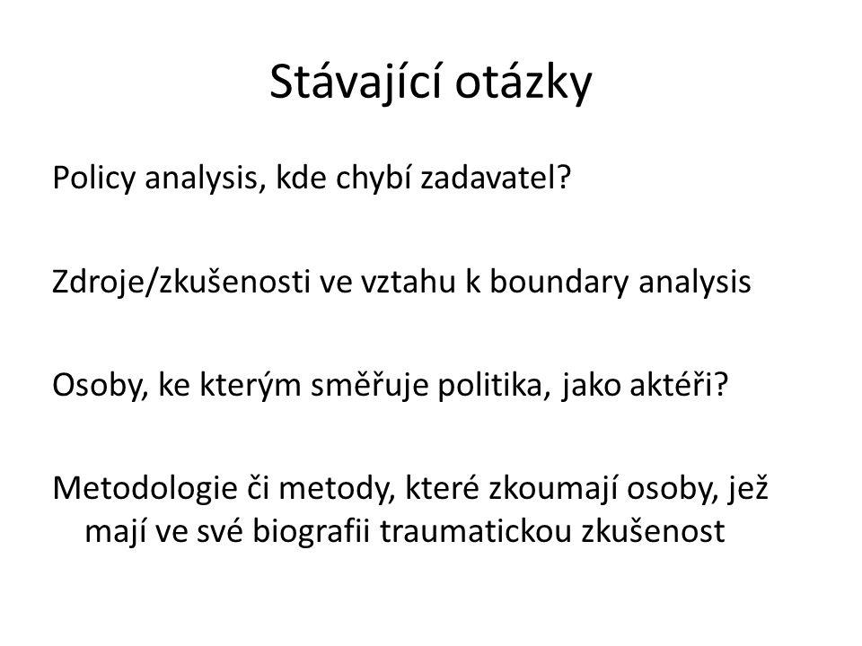 Stávající otázky Policy analysis, kde chybí zadavatel
