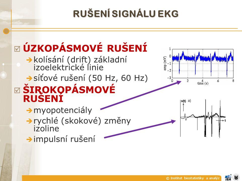 RUŠENÍ SIGNÁLU EKG ÚZKOPÁSMOVÉ RUŠENÍ ŠIROKOPÁSMOVÉ RUŠENÍ