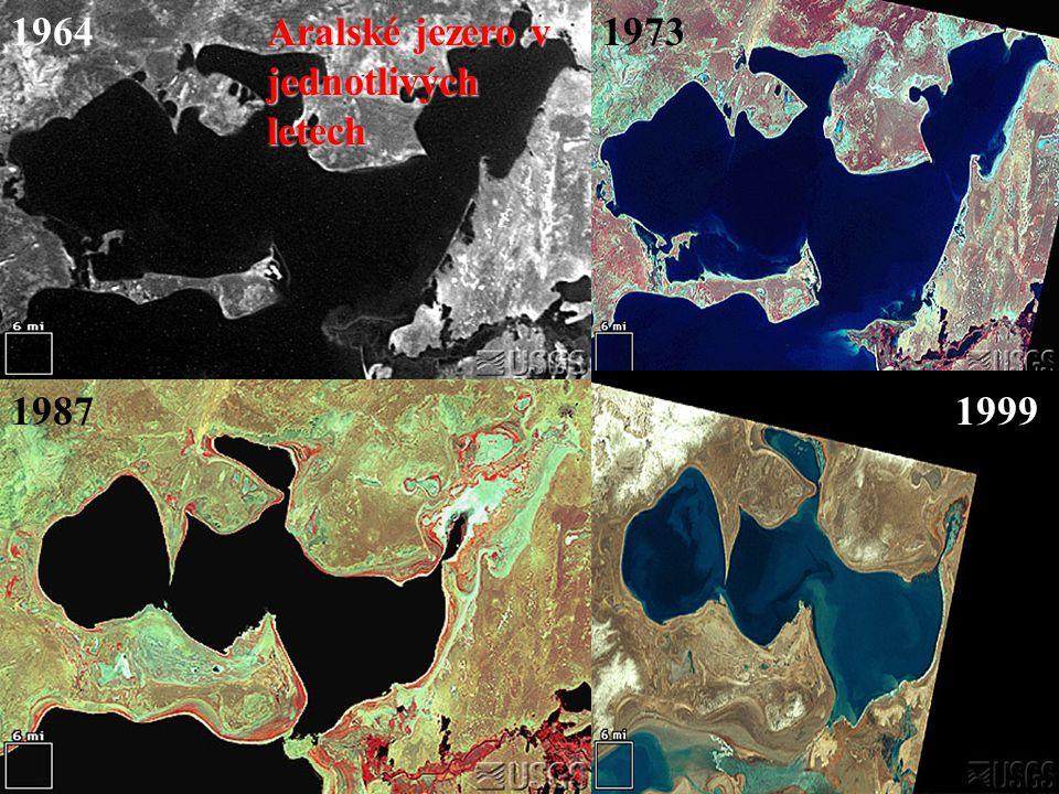 1964 Aralské jezero v jednotlivých letech 1973 1987 1999
