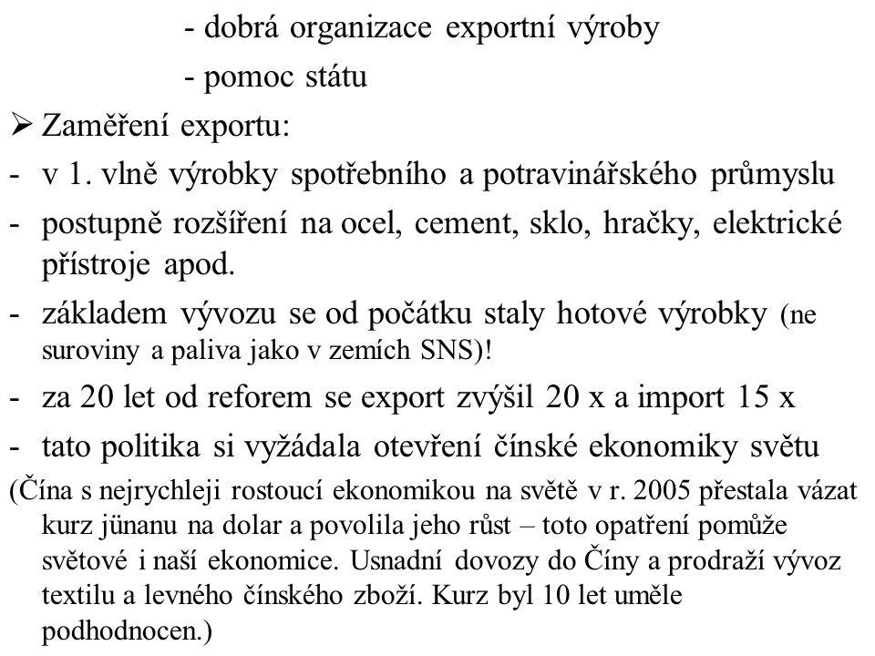 - dobrá organizace exportní výroby - pomoc státu Zaměření exportu:
