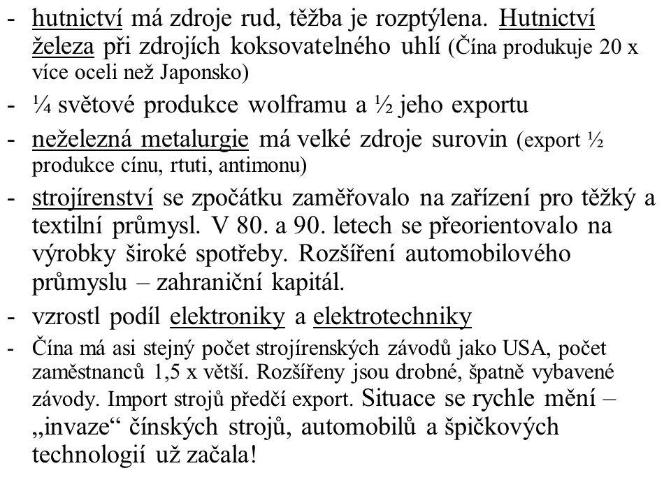 ¼ světové produkce wolframu a ½ jeho exportu