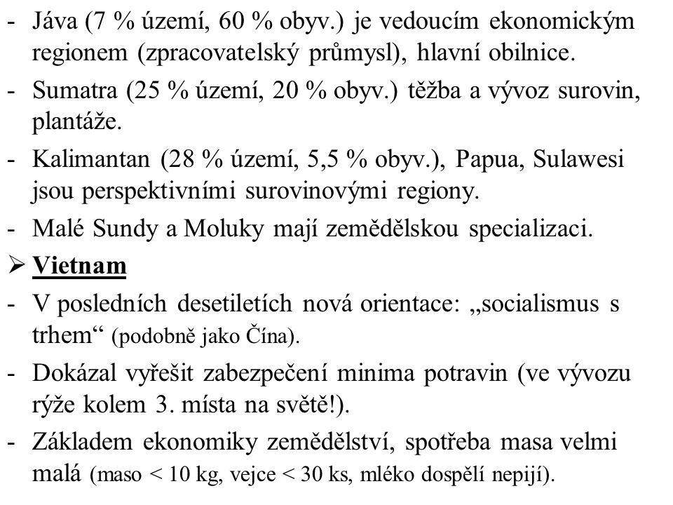 Jáva (7 % území, 60 % obyv.) je vedoucím ekonomickým regionem (zpracovatelský průmysl), hlavní obilnice.