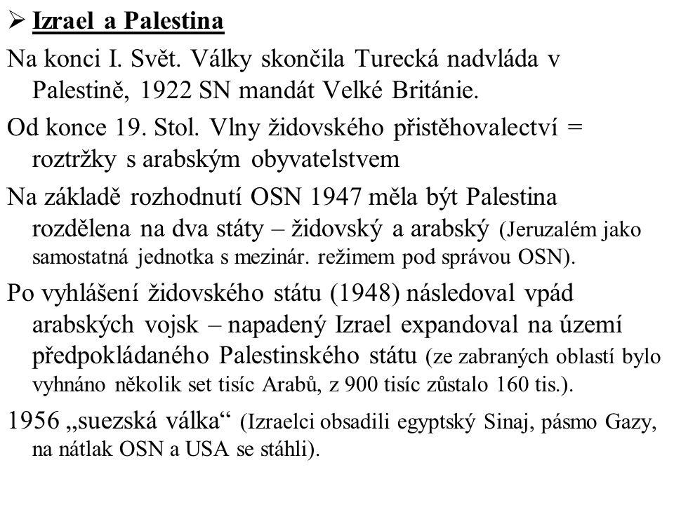 Izrael a Palestina Na konci I. Svět. Války skončila Turecká nadvláda v Palestině, 1922 SN mandát Velké Británie.