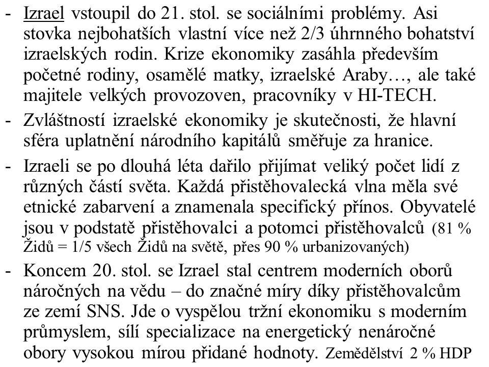 Izrael vstoupil do 21. stol. se sociálními problémy