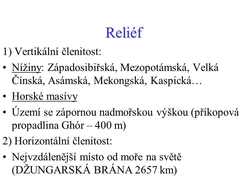 Reliéf 1) Vertikální členitost: