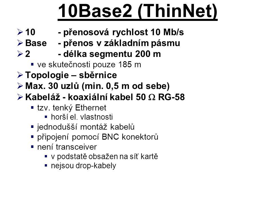 10Base2 (ThinNet) 10 - přenosová rychlost 10 Mb/s
