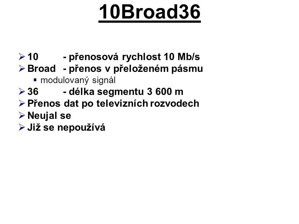 10Broad36 10 - přenosová rychlost 10 Mb/s