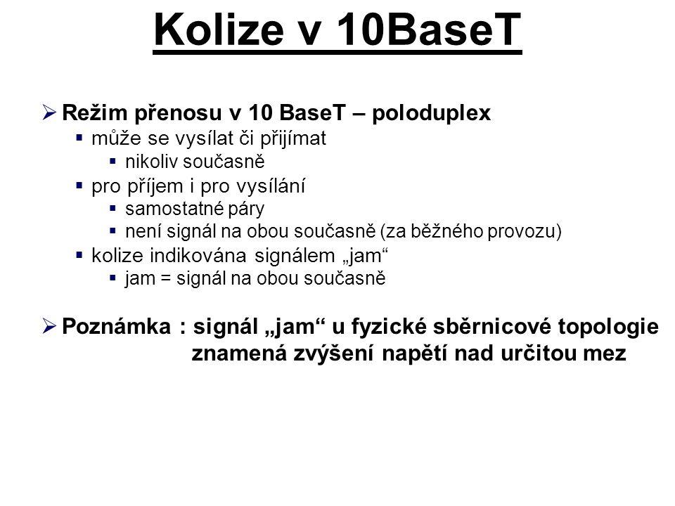 Kolize v 10BaseT Režim přenosu v 10 BaseT – poloduplex
