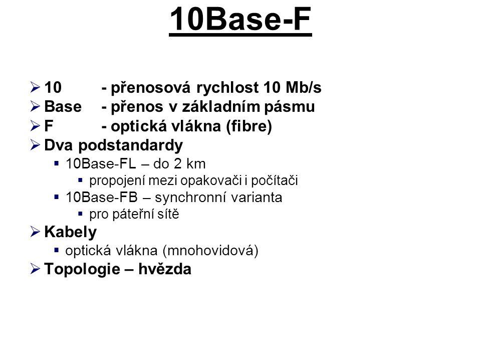 10Base-F 10 - přenosová rychlost 10 Mb/s
