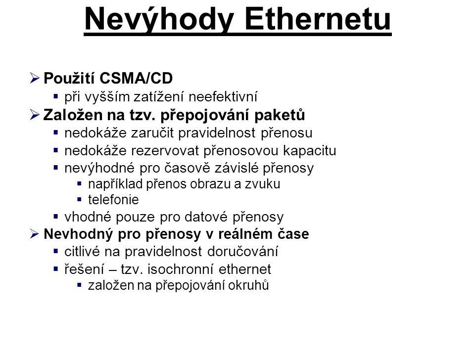 Nevýhody Ethernetu Použití CSMA/CD Založen na tzv. přepojování paketů