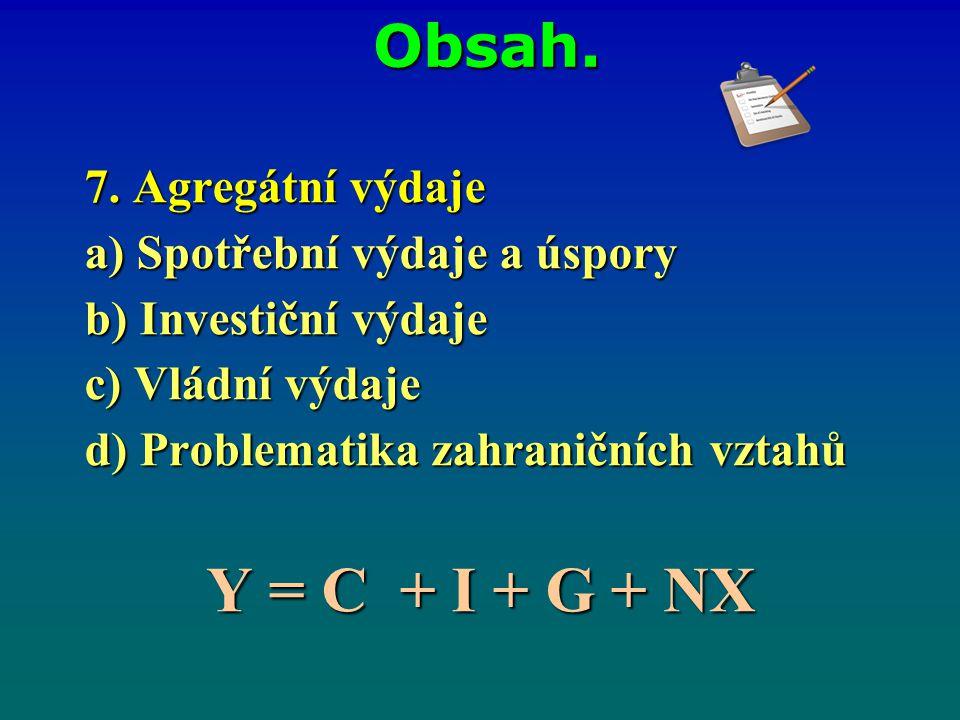 Y = C + I + G + NX Obsah. 7. Agregátní výdaje
