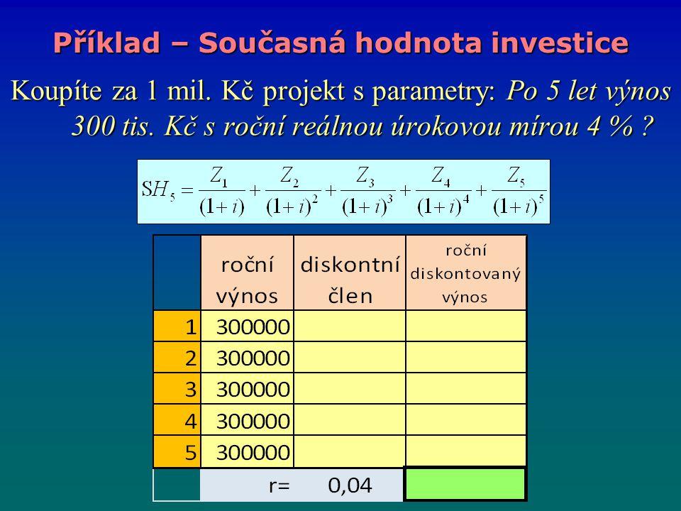 Příklad – Současná hodnota investice