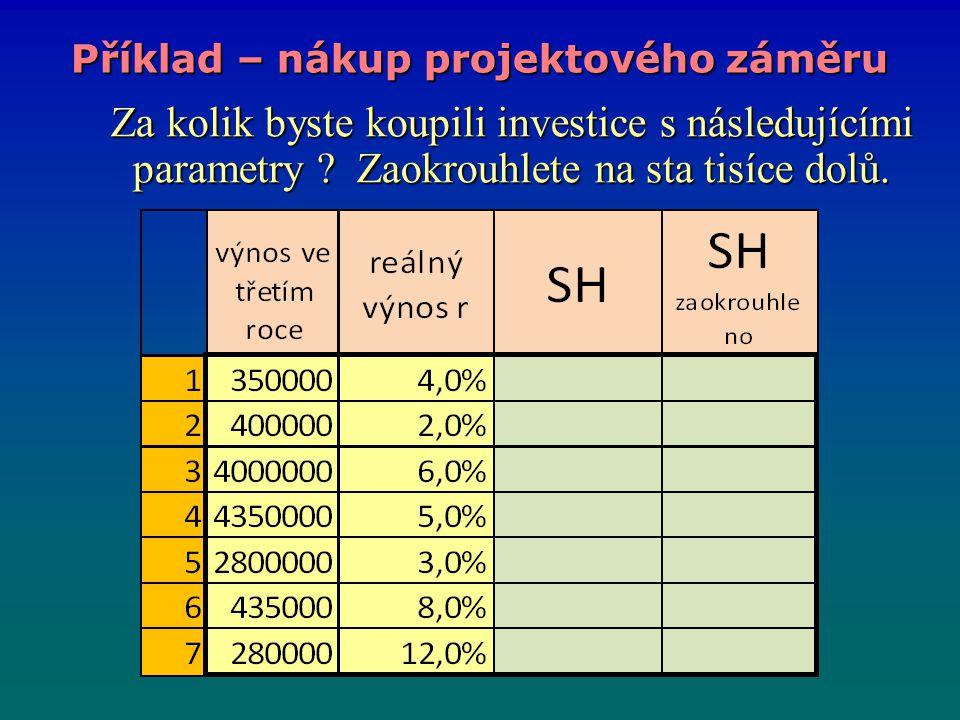 Příklad – nákup projektového záměru