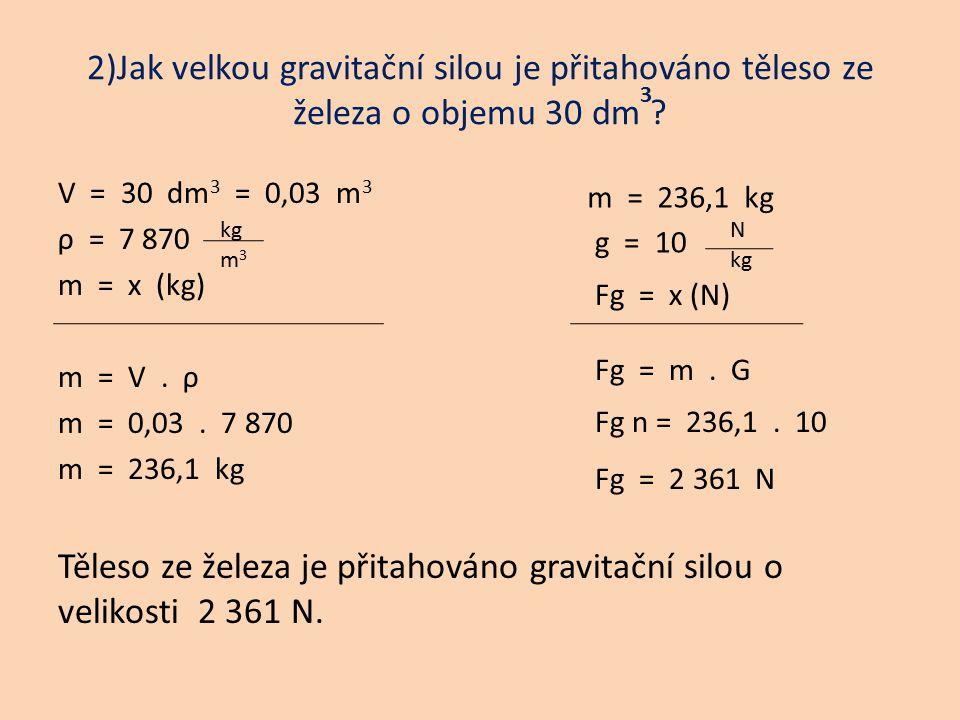 Těleso ze železa je přitahováno gravitační silou o velikosti 2 361 N.