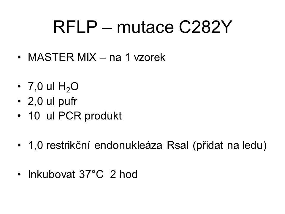 RFLP – mutace C282Y MASTER MIX – na 1 vzorek 7,0 ul H2O 2,0 ul pufr