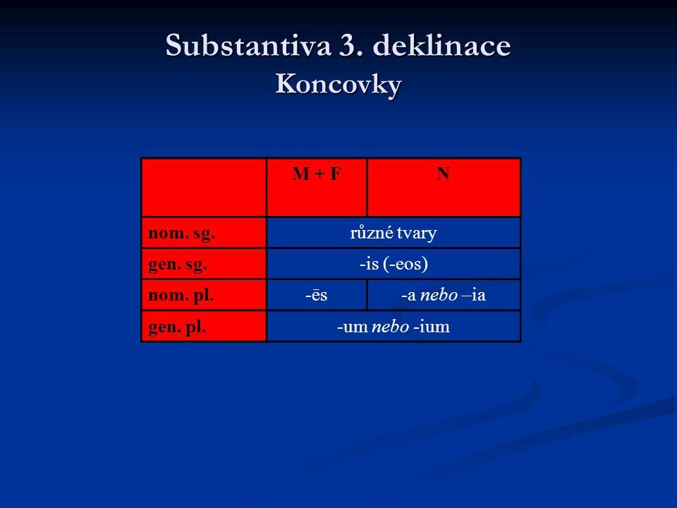 Substantiva 3. deklinace Koncovky