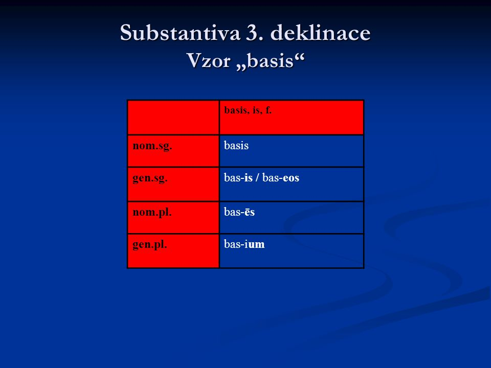 "Substantiva 3. deklinace Vzor ""basis"