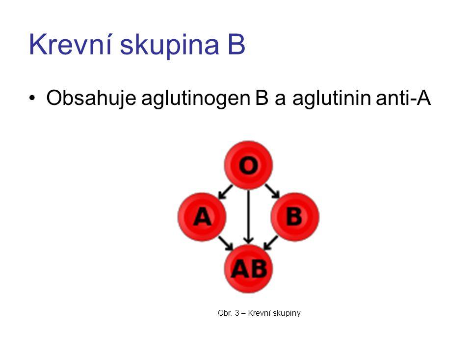 Krevní skupina B Obsahuje aglutinogen B a aglutinin anti-A