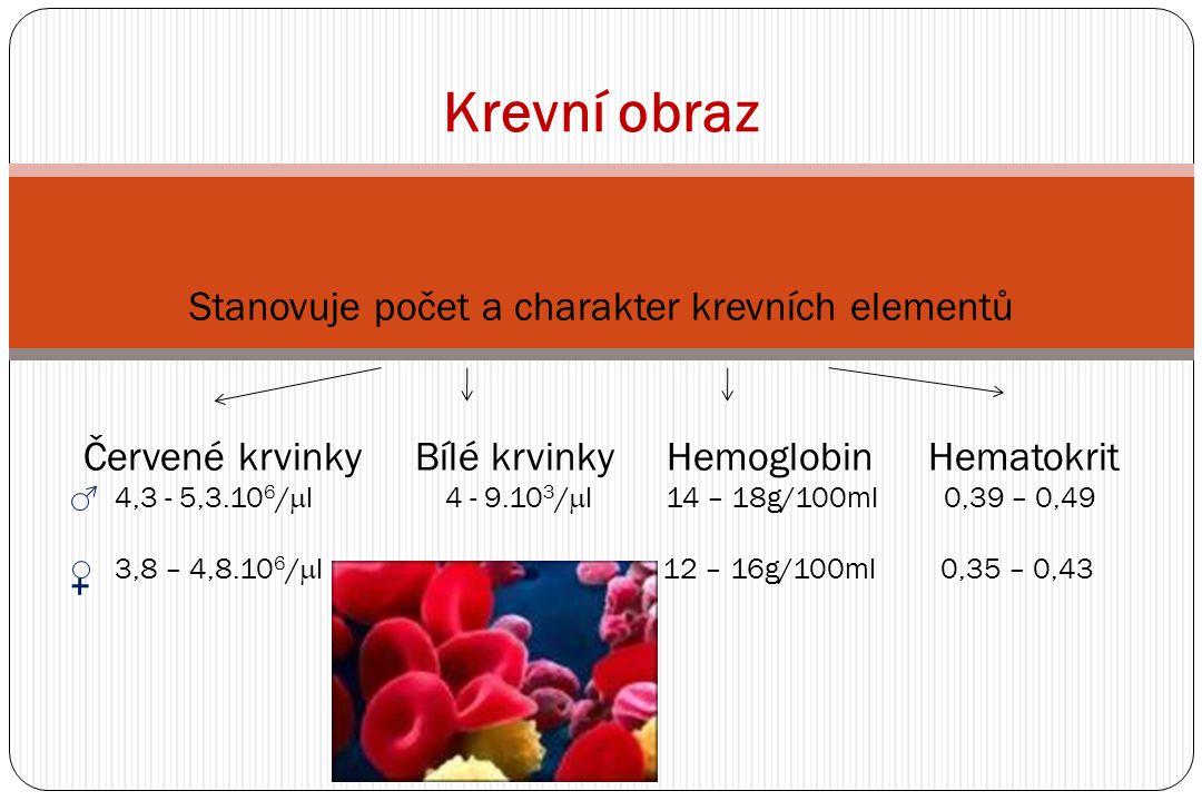 Krevní obraz Stanovuje počet a charakter krevních elementů