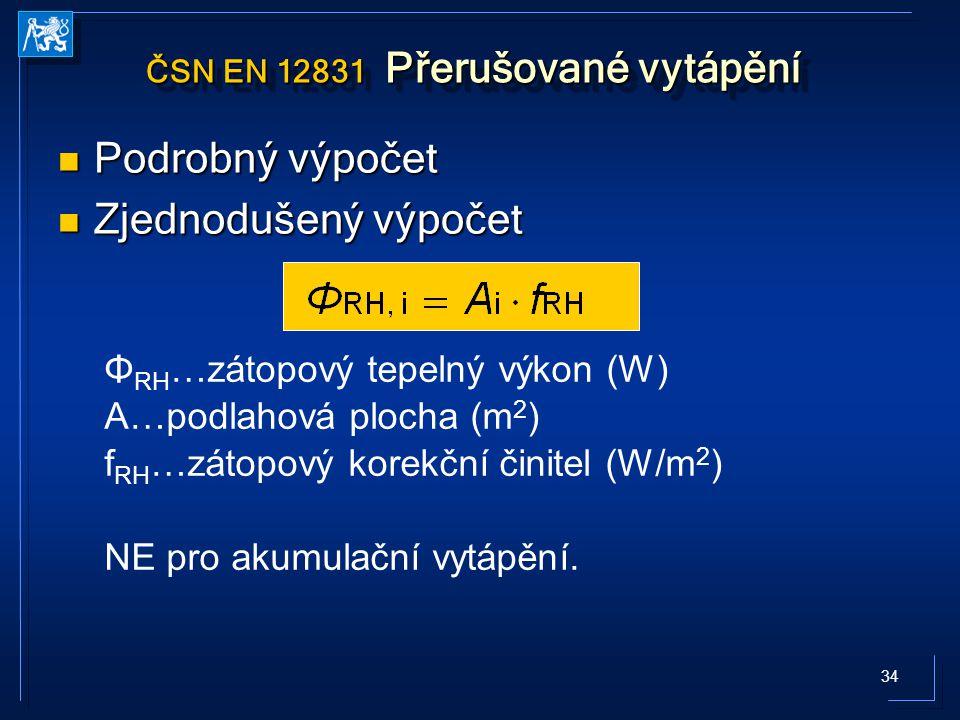 ČSN EN 12831 Přerušované vytápění