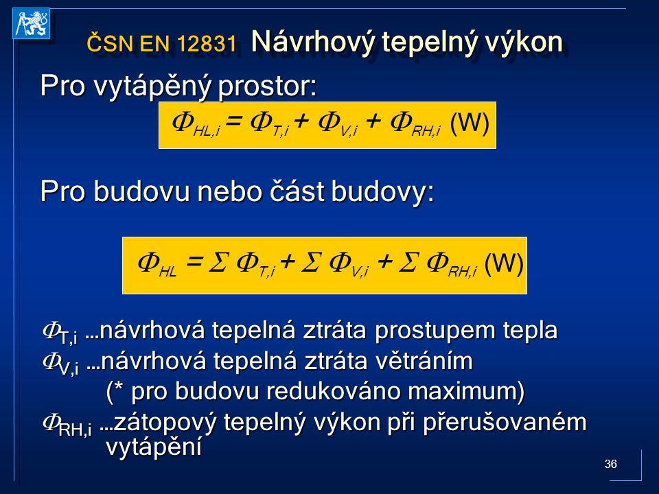 ČSN EN 12831 Návrhový tepelný výkon