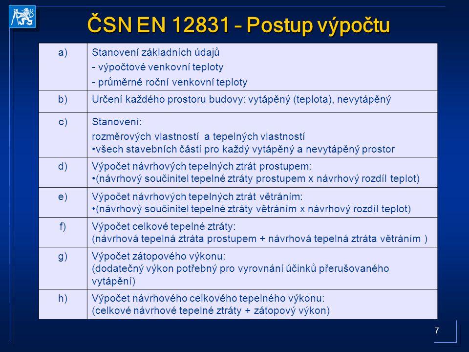 ČSN EN 12831 – Postup výpočtu a) Stanovení základních údajů