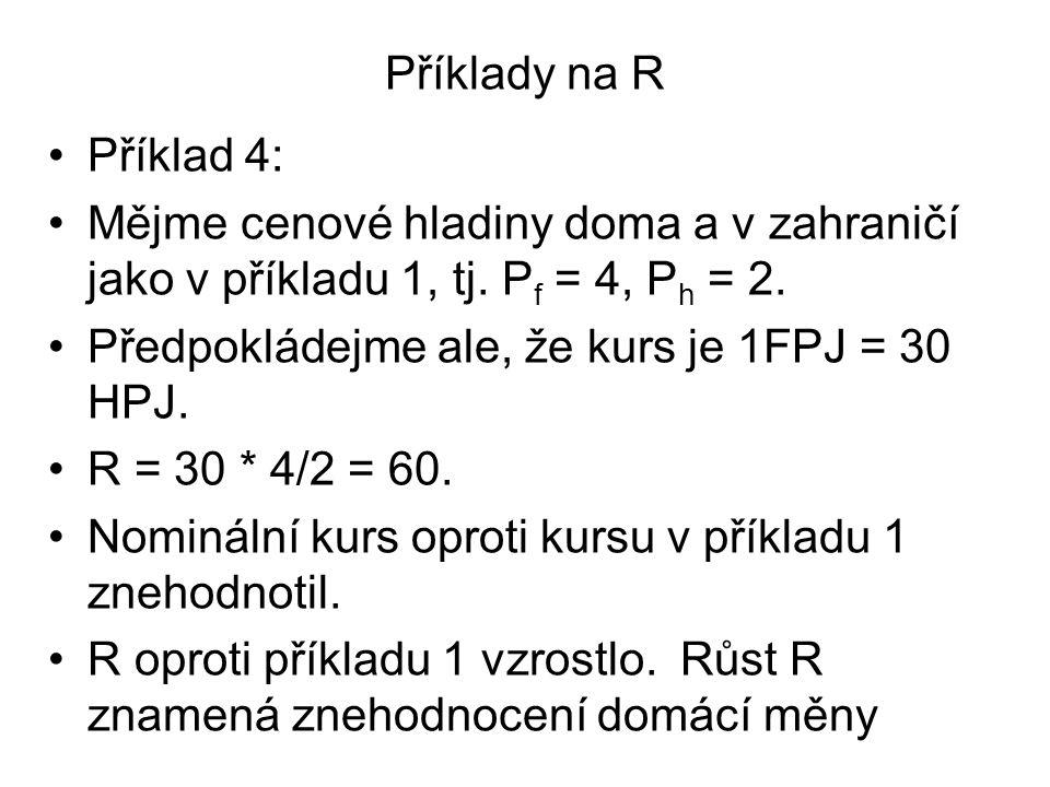 Příklady na R Příklad 4: Mějme cenové hladiny doma a v zahraničí jako v příkladu 1, tj. Pf = 4, Ph = 2.