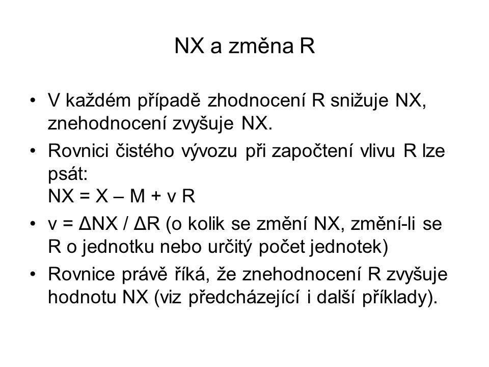 NX a změna R V každém případě zhodnocení R snižuje NX, znehodnocení zvyšuje NX.