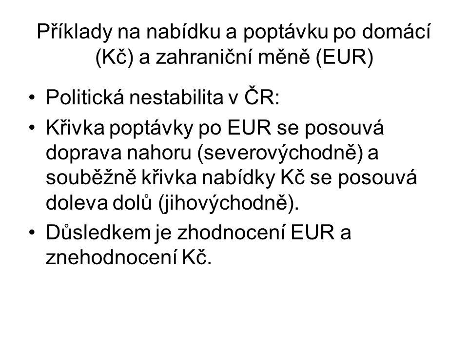 Příklady na nabídku a poptávku po domácí (Kč) a zahraniční měně (EUR)