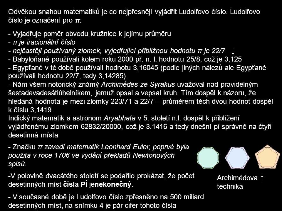 Odvěkou snahou matematiků je co nejpřesněji vyjádřit Ludolfovo číslo