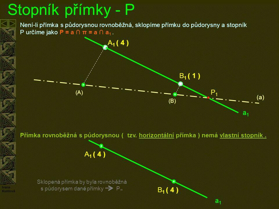 Sklopená přímka by byla rovnoběžná s půdorysem dané přímky P∞