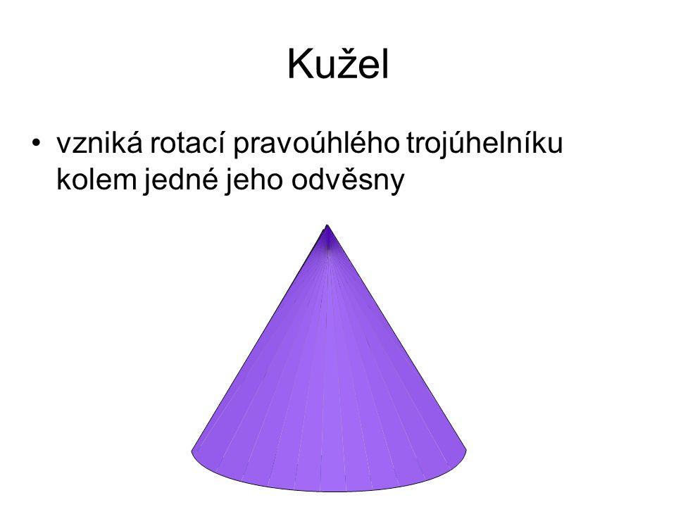 Kužel vzniká rotací pravoúhlého trojúhelníku kolem jedné jeho odvěsny