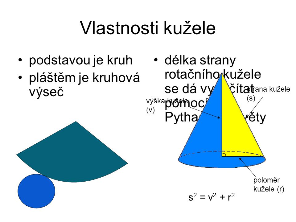 Vlastnosti kužele podstavou je kruh pláštěm je kruhová výseč