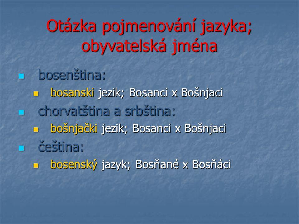 Otázka pojmenování jazyka; obyvatelská jména