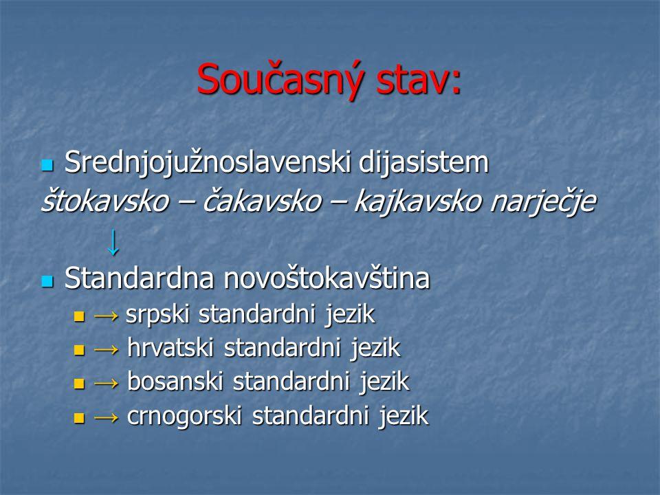 Současný stav: Srednjojužnoslavenski dijasistem
