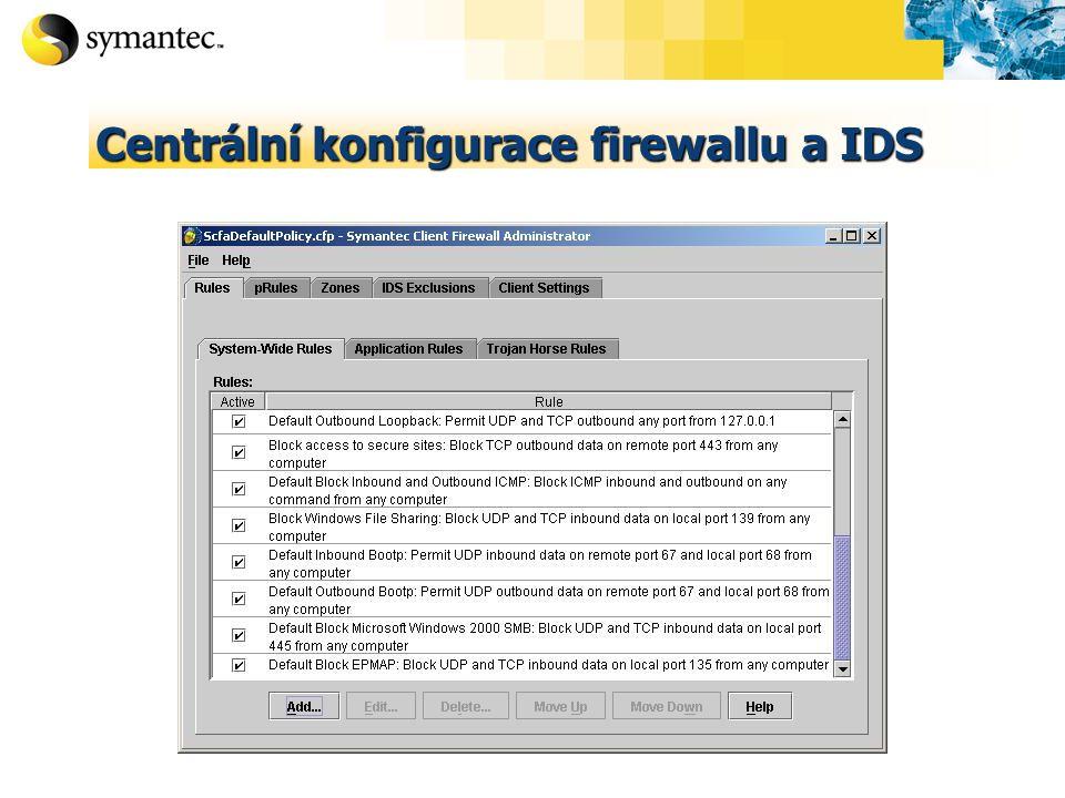 Centrální konfigurace firewallu a IDS