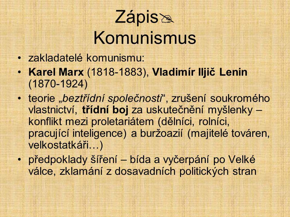 Zápis Komunismus zakladatelé komunismu: